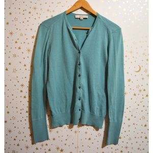 Loft Blue Button Front Cardigan Sweater Small